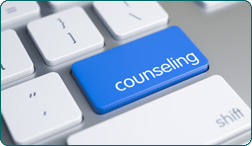 Counseling button on a computer keyboard